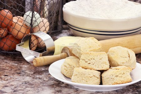 Country biscuits with fresh butter, eggs and flour...