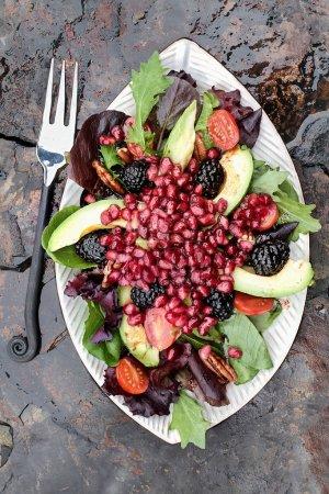 Pomegranate, Avocado and Blackberrry Salad