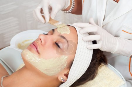 Beautiful young woman lying on massage table while natural facial mask is applied on her face