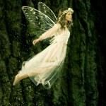 Beautiful forest fairy in fligh