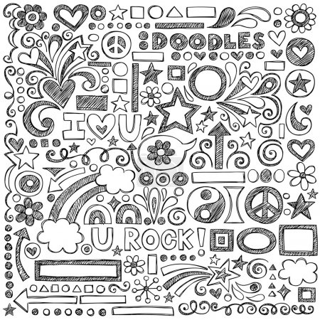 Illustration for Sketchy Notebook Doodles Set of Hand-Drawn Design Elements with Flowers, Shapes, Hearts, Stars, Arrows and More- Vector Illustration on Lined Sketchbook Paper Background - Royalty Free Image