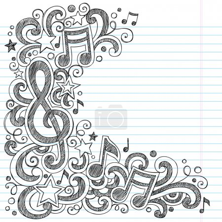 Illustration for I Love Music Back to School Sketchy Notebook Doodles with Music Notes and Swirls- Hand-Drawn Vector Illustration Design Elements on Lined Sketchbook Paper Background - Royalty Free Image