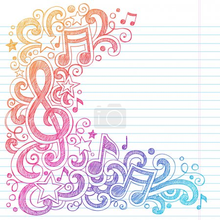 Illustration pour Notes de musique G Clef Vector- Back to School Sketchy Notebook Doodles with Music Notes and Swirls- Illustration vectorielle dessinée à la main sur papier de carnet de croquis doublé - image libre de droit