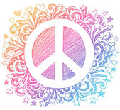 Hand-Drawn Psychedelic Groovy Peace Sign
