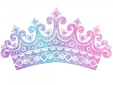 Hand-Drawn Sketchy Royalty Princess Tiara Crown