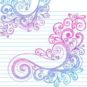 Hand-Drawn Abstract Sketchy Swirly Doodles on Lined Notebook Paper Vector Illustration