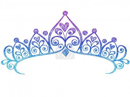 Hand-Drawn Sketchy Royalty Princess Tiara Crown Notebook Doodles