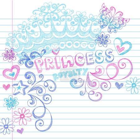 Hand-Drawn Sketchy Princess Notebook Doodles