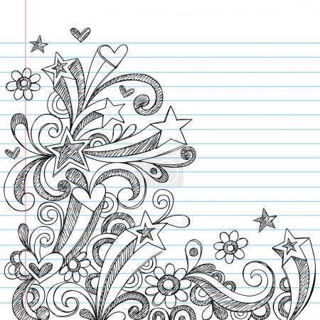Hand-Drawn Back to School Starbursts, Swirls, Hearts, and Stars Sketchy Notebook Doodles