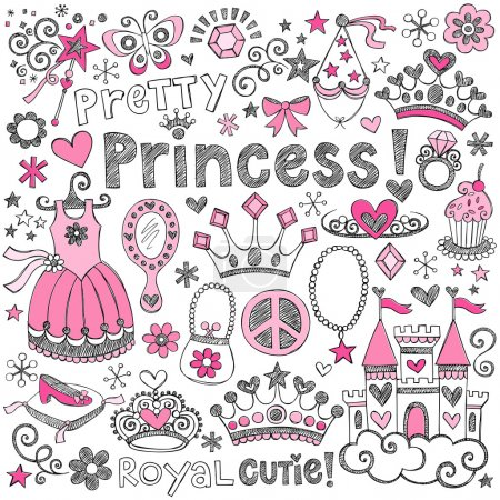 Photo for Hand-Drawn Sketchy Fairy Tale Princess Tiara Crown Notebook Doodle Design Elements Set Illustration - Royalty Free Image