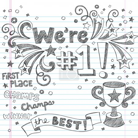 Winner Trophy First Place Sketchy Doodles Vector Illustration