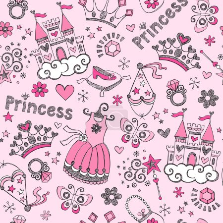 Princess Tiara Pattern Sketchy Notebook Doodles Vector Set
