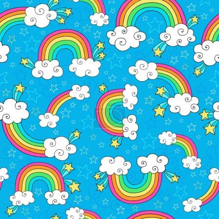 Illustration pour Arcs-en-ciel Ciel et nuages Modèle sans couture Groovy Bloc-notes caniches dessiné à la main Illustration vectorielle Arrière-plan - image libre de droit