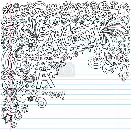 Illustration for Hand-Drawn Star Student A-Plus Scribble Inky Doodles- Back to School Notebook Doodle Design Elements on Lined Sketchbook Paper Vector Illustration - Royalty Free Image