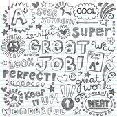 Great Job Super Student Praise Phrases Back to School Sketchy Notebook Doodles- Hand-Drawn Illustration Design Elements on Lined Sketchbook Paper Background