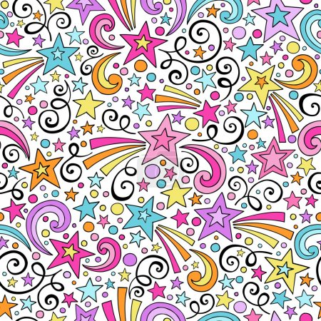 Illustration for Stars and Swirls Seamless Pattern- Groovy Notebook Doodles Hand-Drawn Vector Illustration Background - Royalty Free Image
