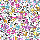 Stars Seamless Pattern Notebook Doodles Vector Background