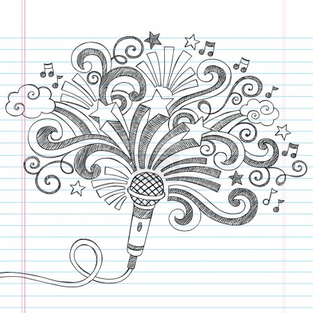 Microphone Music Back to School Sketchy Notebook Doodles Vector Illustration on Lined Paper Background