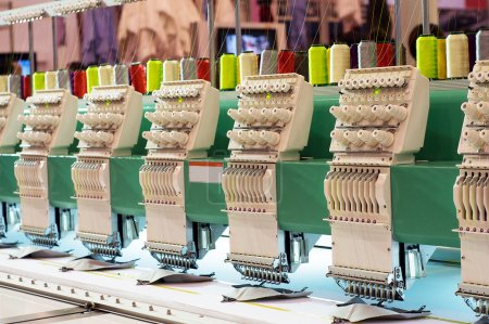 Photo for Textile: Industrial Embroidery Machine - Royalty Free Image