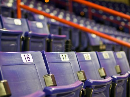 Photo for Blue Folding Seats at an Indoor Sports Arena - Royalty Free Image