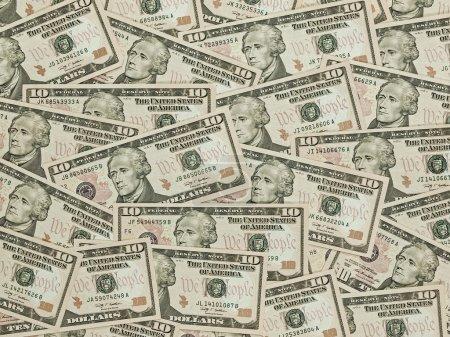 US Ten Dollar Bill Background
