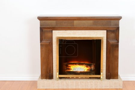 Fireplace with fake fire