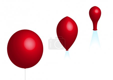 Illustration for Deflation; three red balloons on white background - Royalty Free Image