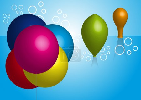 Illustration for Group colorful balloons on blue background - Royalty Free Image