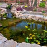 Decorative koi pond in a garden...