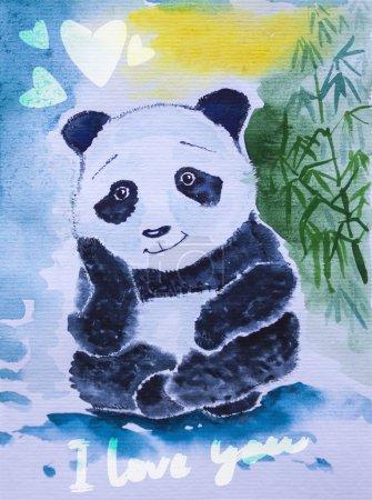 Photo pour Cute panda géant aquarelle. vous rêvez de bambou - image libre de droit