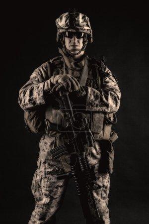 US marine studio shot on black background