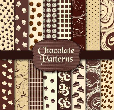 Illustration pour Illustration vectorielle de différents modèles de chocolat - image libre de droit