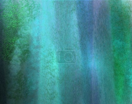 Photo for Abstract blue background or teal background with watercolor vintage grunge background texture color and green light on distressed faded background paper or canvas for brochure poster or web template - Royalty Free Image