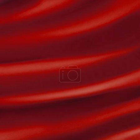 Photo pour Toile de fond rouge abstraite ou illustration vague liquide de plis ondulés de soie texture satin ou velours ou fond de Noël luxueux rouge papier peint design de courbes élégantes matériau rouge - image libre de droit