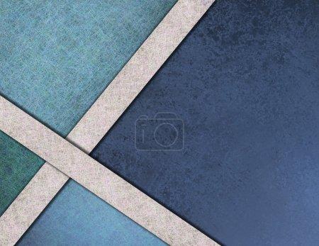 Photo pour Élégant fond abstrait, barre latérale texturée bleue et élément de design d'angle avec rubans texturés en papier parchemin blanc et texture de fond grunge vintage, gabarit web ou mise en page de brochure - image libre de droit