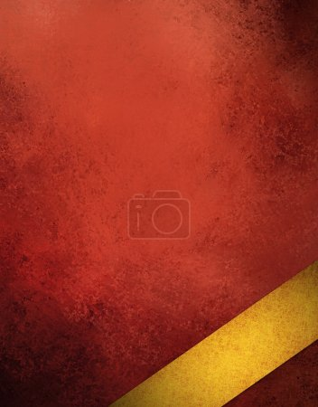 Photo pour Abstrait rouge avec ruban d'or incliné de coin a noir grunge vintage élégante texture mise en page design avec vieux teint ANC pour rétro fond ou web modèle ou une brochure carte de Noël - image libre de droit
