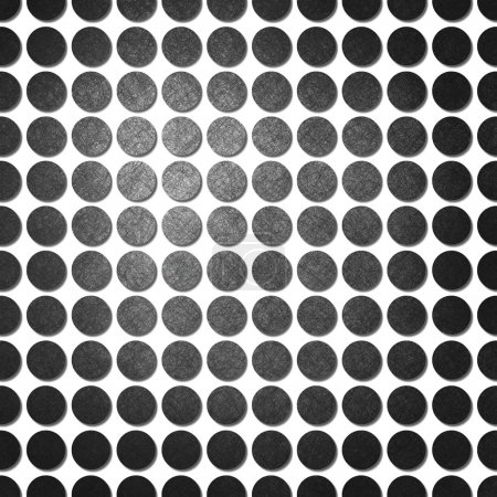Photo for Abstract white background with black polka dots, background has pattern of dots in lines with vintage grunge background texture on each spot and center highlight for fun modern background design - Royalty Free Image