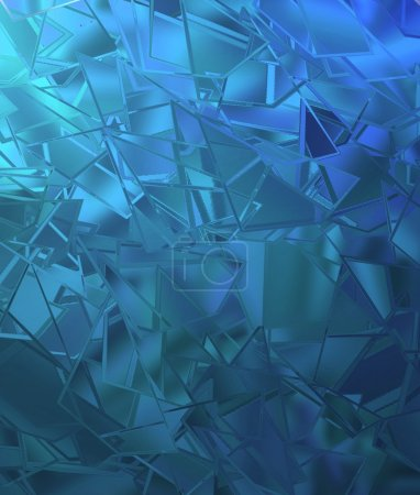 Abstract shattered glass blue background pattern
