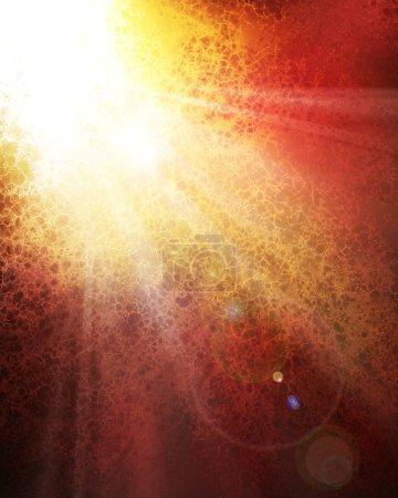 Foto de Concepto de diseño de fondo sunburst abstracta del sol estallando a través de las nubes o un mensaje del cielo, salpicaduras de color blanco brillante o lugar con rayas blancas de rayos del sol se separa hacia abajo, destello de lente - Imagen libre de derechos