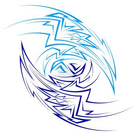 Photo pour Modèle abstraite faite de courbes pointus composé de deux parties de couleurs bleus clair et foncés - image libre de droit