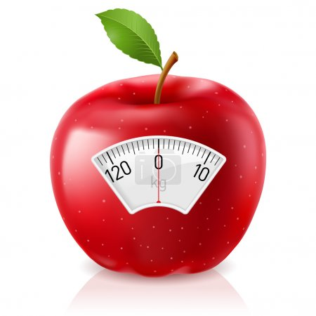 Illustration for Red Apple With Scale for a Weighing Machine - Royalty Free Image