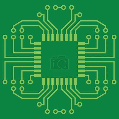 Photo for Illustration of Green Seamless Printed Circuit Board - Royalty Free Image