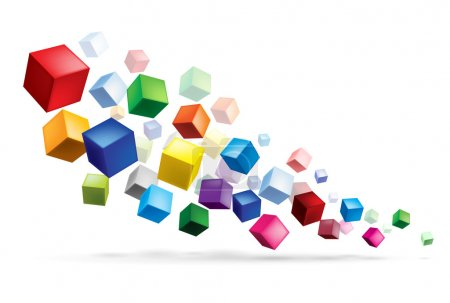Illustration for Raster version. Cubes in various combinations of position for training - Royalty Free Image