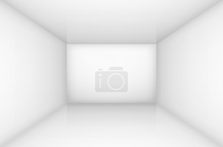 Illustration for White simple empty room interior, box. Vector illustration - Royalty Free Image