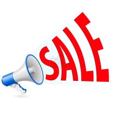 Illustration of sale and promotion related word coming out from megaphone
