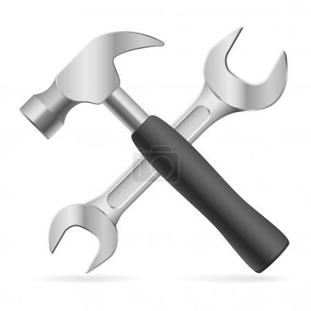 Illustration pour Hummer et engrenage et clé à molette - image libre de droit