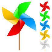 Children's toy windmill propeller with multicolored blades on a white background