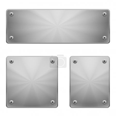 Illustration for Three shiny metal plates of different size with bolts isolated on white. - Royalty Free Image