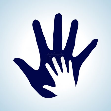Illustration for Hand in hand illustration in white and blue. Idea of help, assistance and cooperation. - Royalty Free Image