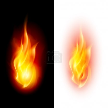 Illustration pour Deux flammes de feu sur fond noir et blanc contrastés . - image libre de droit